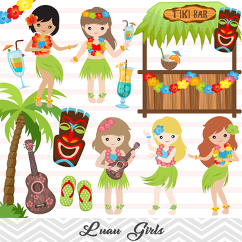 Luau clipart hula dancer. Digital girl clip art