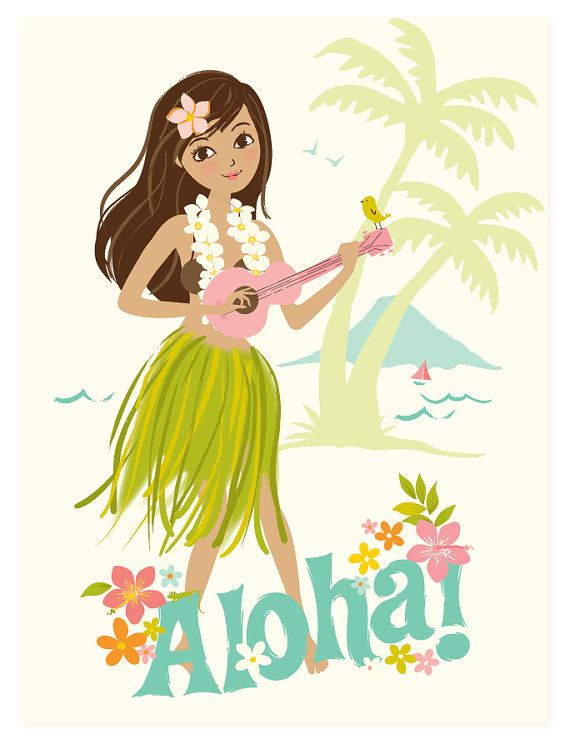 Hawaiian clipart lady hawaiian. Hawaii wall art aloha