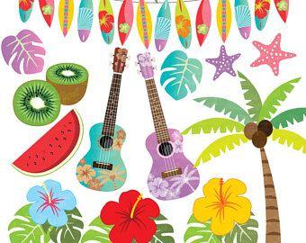 Luau clipart hawaiian guitar. Summer hawaii beach clip