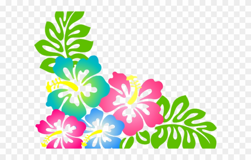 Hibiscus theme flower . Hawaiian clipart island themed