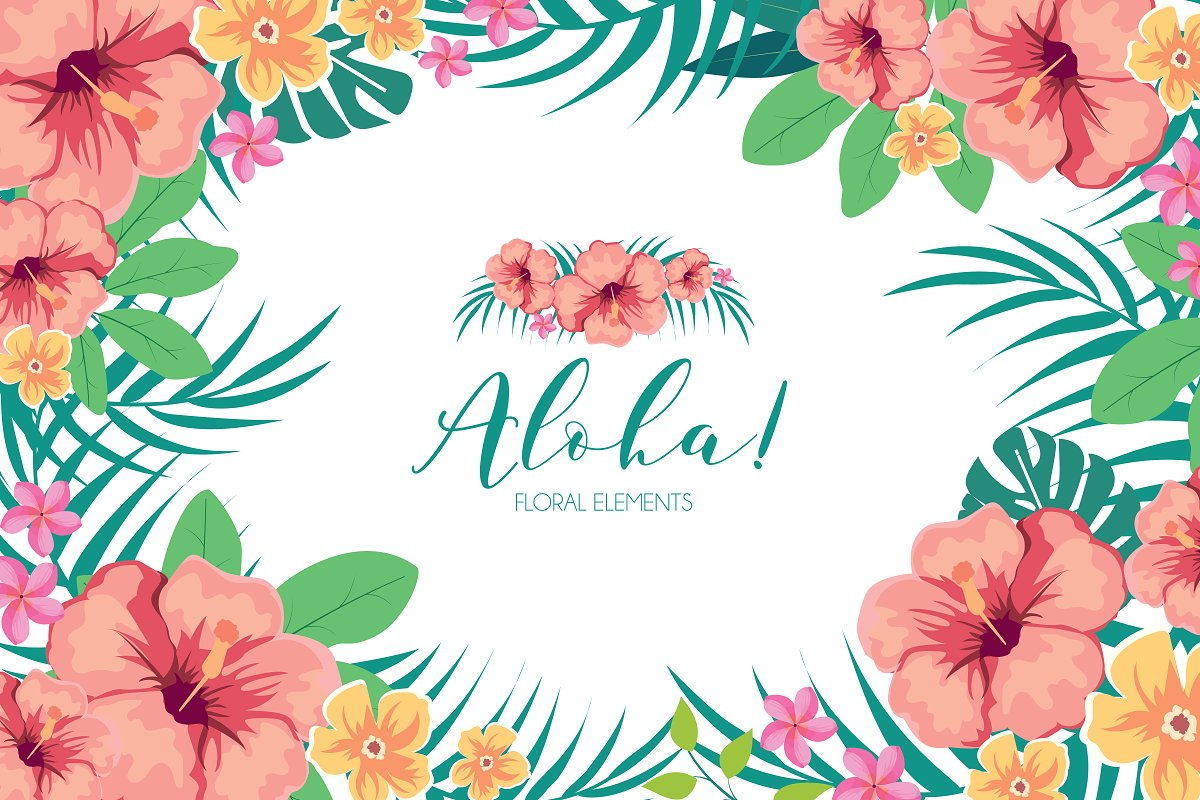 Hawaiian clipart hawaiian floral. Tropical flowers illustrations creative