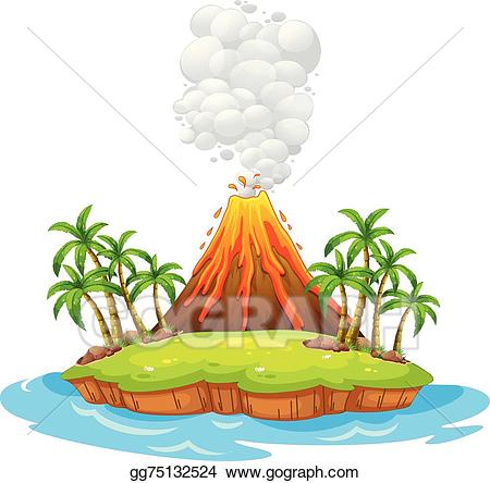 Hawaii clipart volcanic island. Vector volcano illustration
