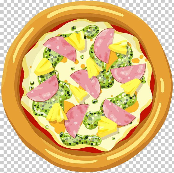 Hawaiian pizza italian cuisine. Hawaii clipart yellow food