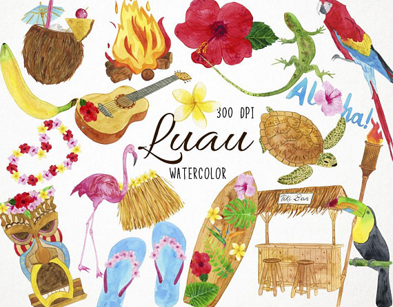 Hawaiian clipart. Watercolor luau tiki surf