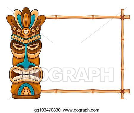 Tiki clipart frame. Eps illustration wooden mask