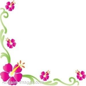 Spring flowers clip art. Hibiscus clipart flower boarder