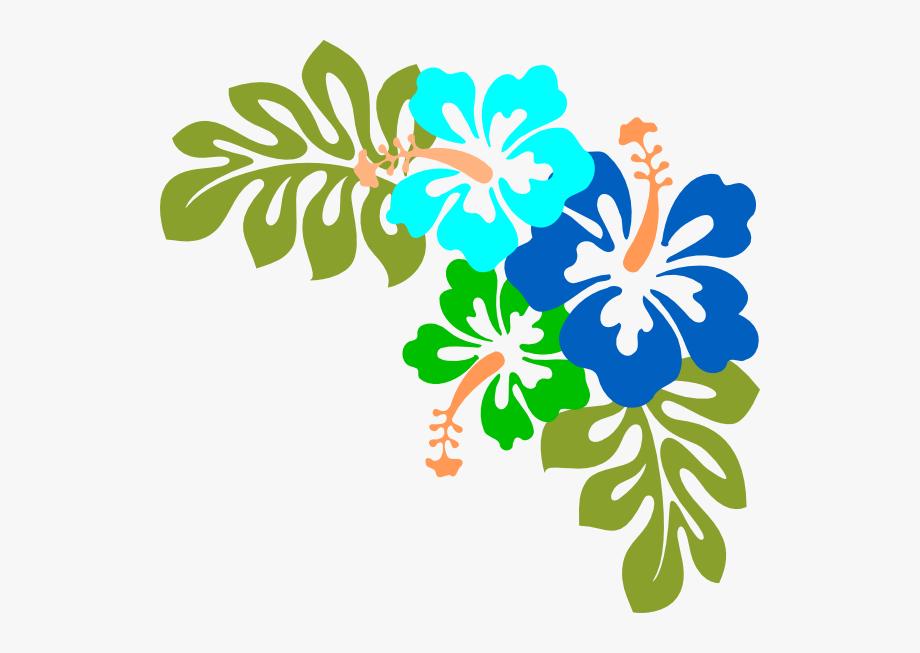 blue clip art. Hibiscus clipart garland