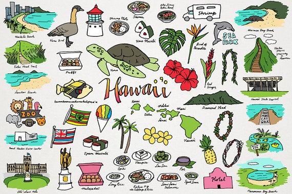 Hawaiian clipart hawaiian food. Hawaii monuments places cities
