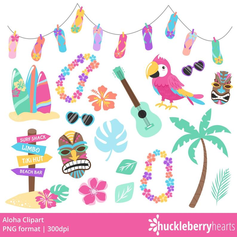 Hawaiian clipart island themed. Tropical parrot luau printable