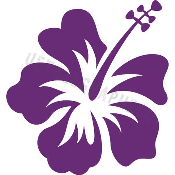 Hawaiian clipart purple hawaiian flower. Island hawaii hibiscus vinyl
