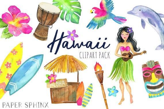 Hawaiian clipart tiki torch. Watercolor hawaii tropical island