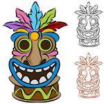 Hawaiian clipart totem pole. Free patterns tiki illustrations