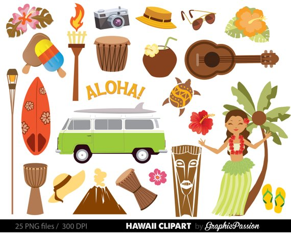 Hawaiian luau party clip. Hawaii clipart