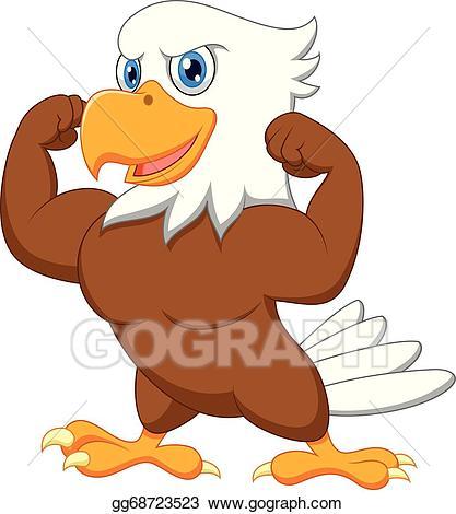 Hawk clipart strong eagle. Eps vector cartoon stock