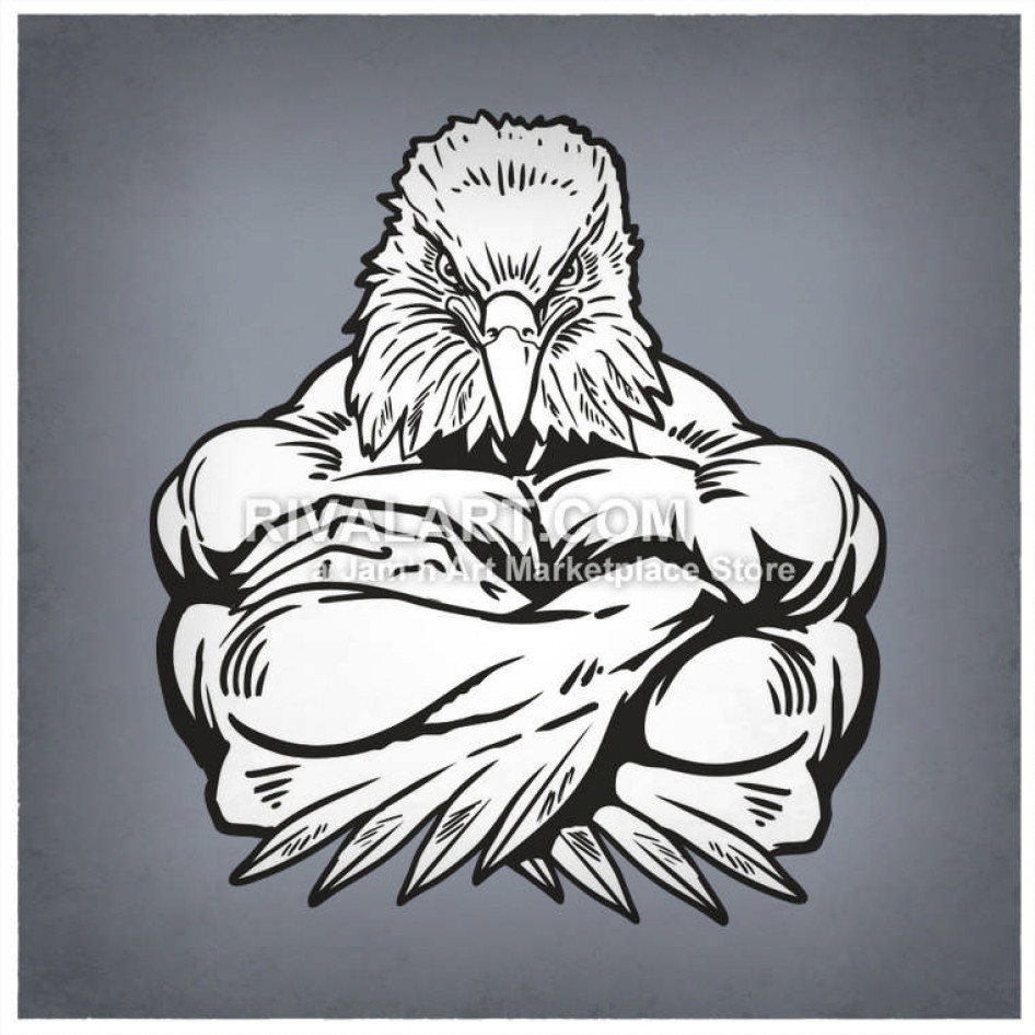 Hawk clipart strong eagle. Eagles with arms crossed