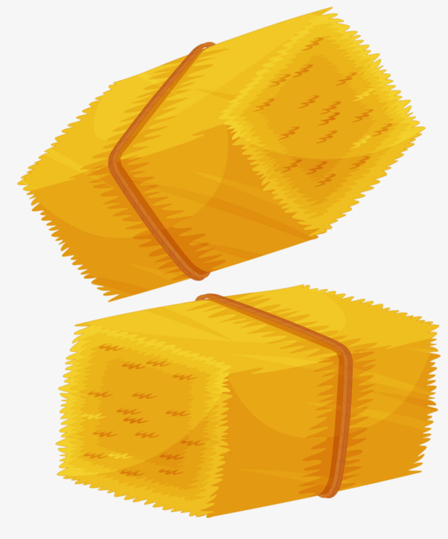 Two bundles of yellow. Hay clipart