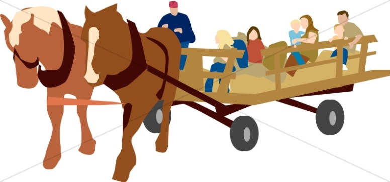 And horses church activity. Hayride clipart