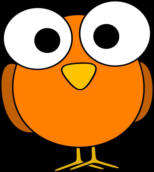 Cute orange eyed cartoon. Head clipart big bird