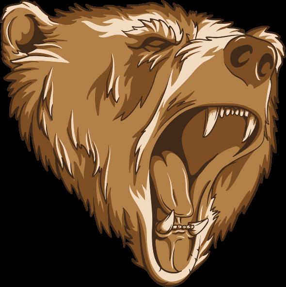 Head clipart brown bear. Roaring mascot remix medium