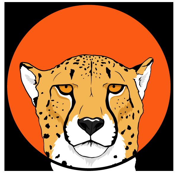 Animals silvercrossfox. Head clipart cheetah