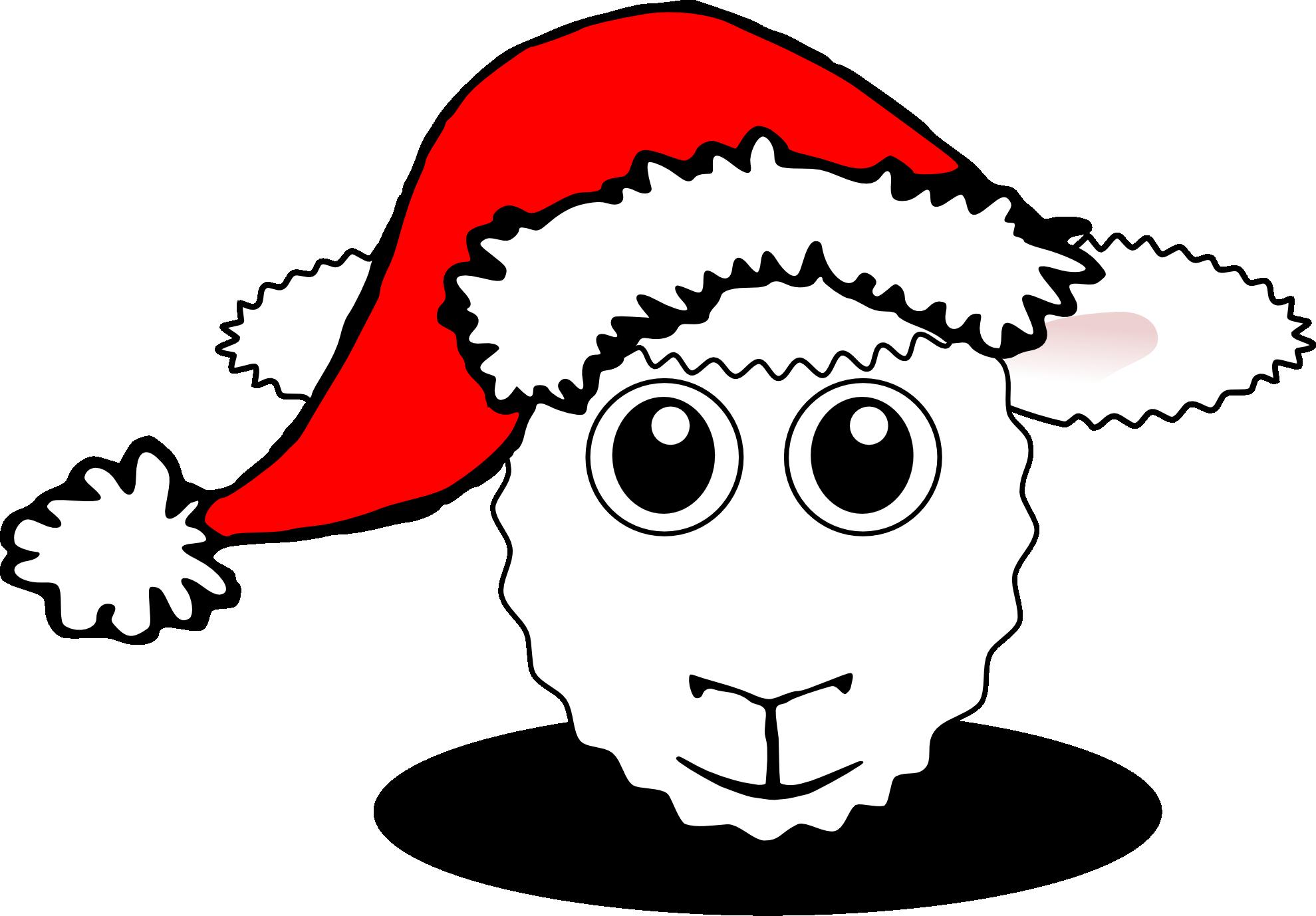 Sheep head black and. Walrus clipart christmas