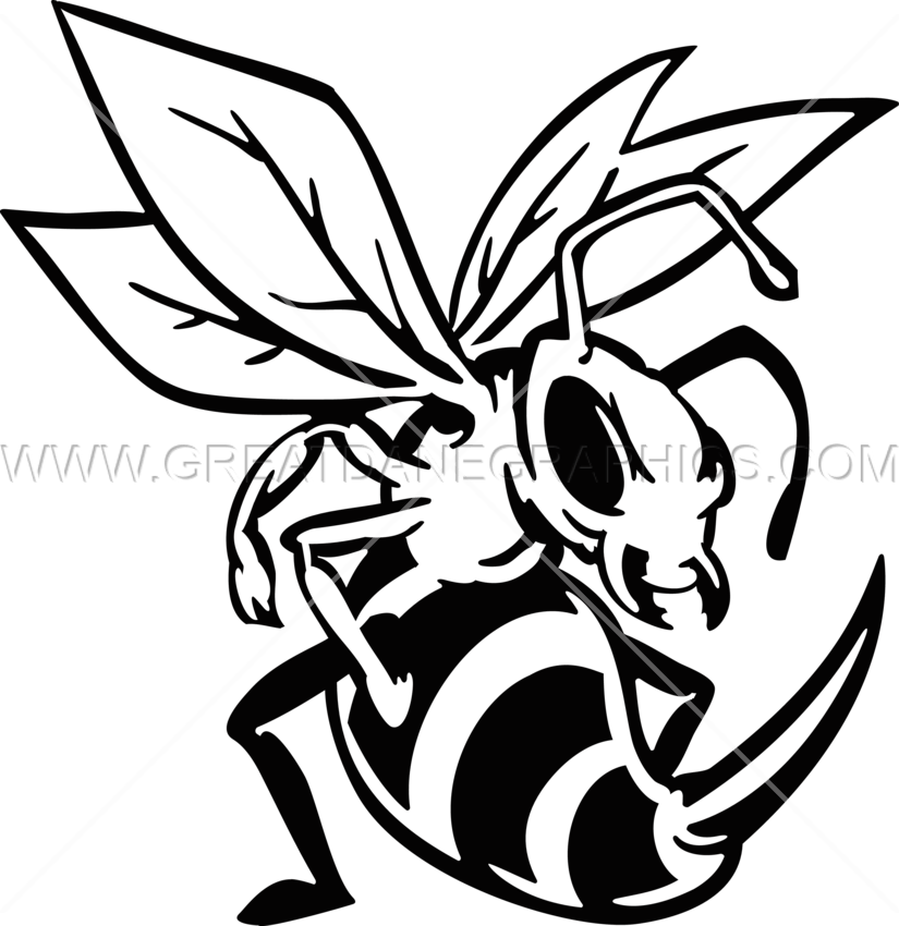 Hornet clipart drawing. Production ready artwork for