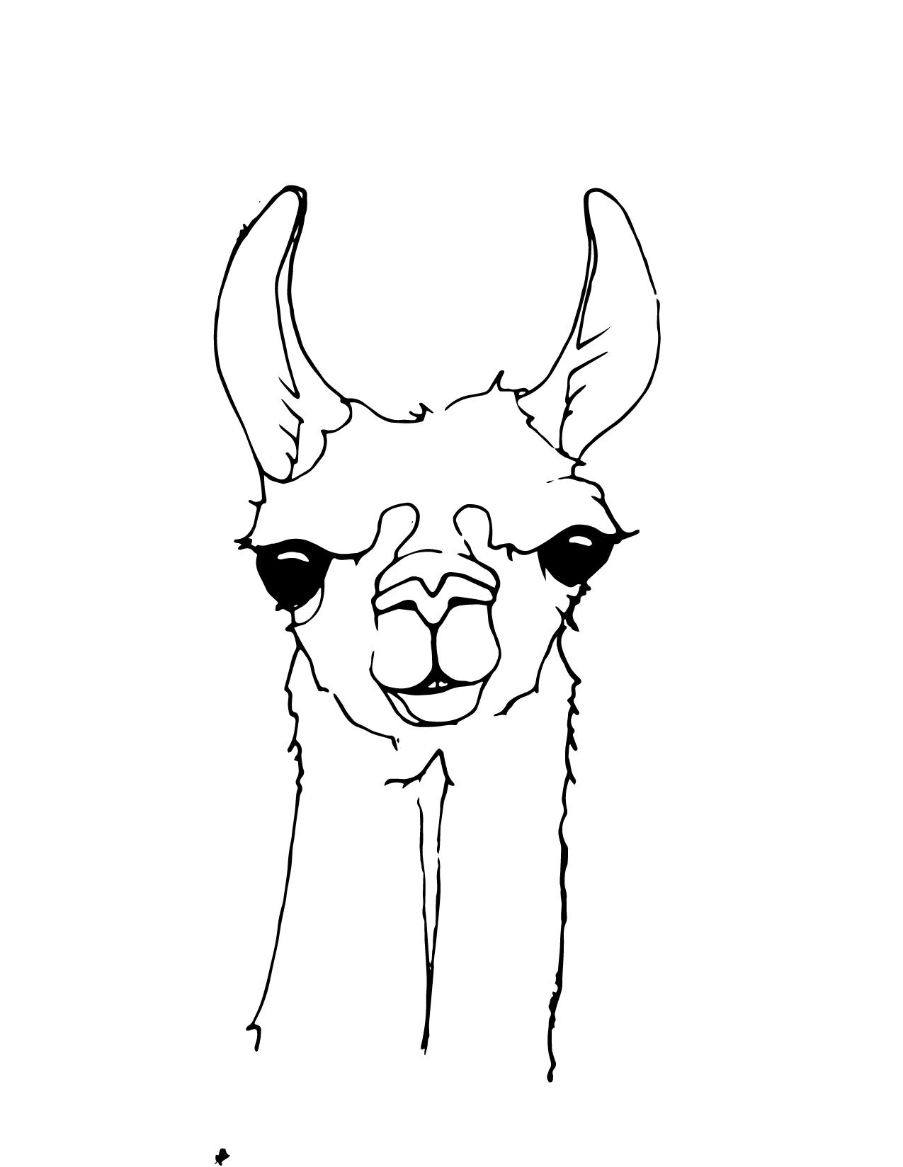 Llama clipart head. Free silhouette download clip