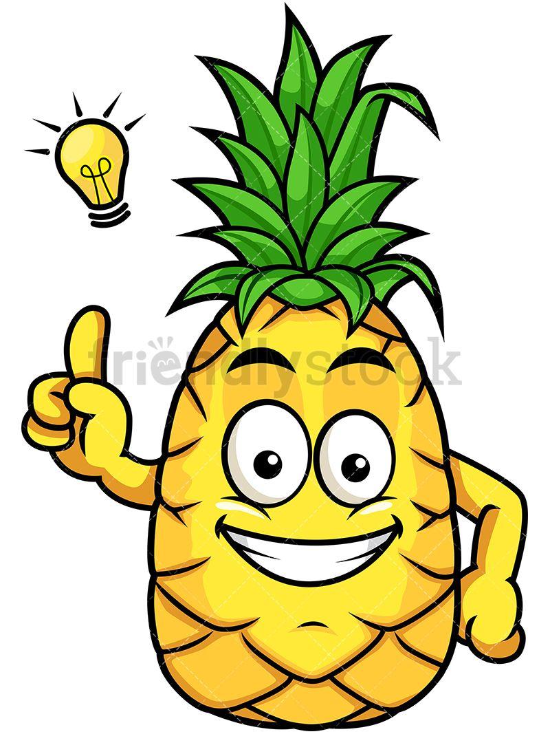 Having great idea vector. Pineapple clipart head