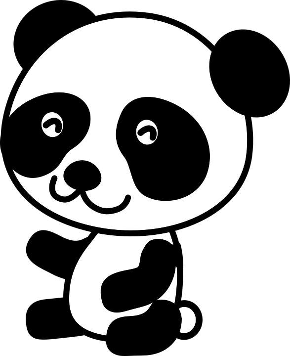 Panda head drawing at. Nose clipart black and white