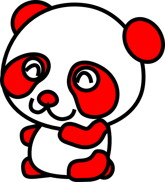 Red clip art at. Panda clipart vector
