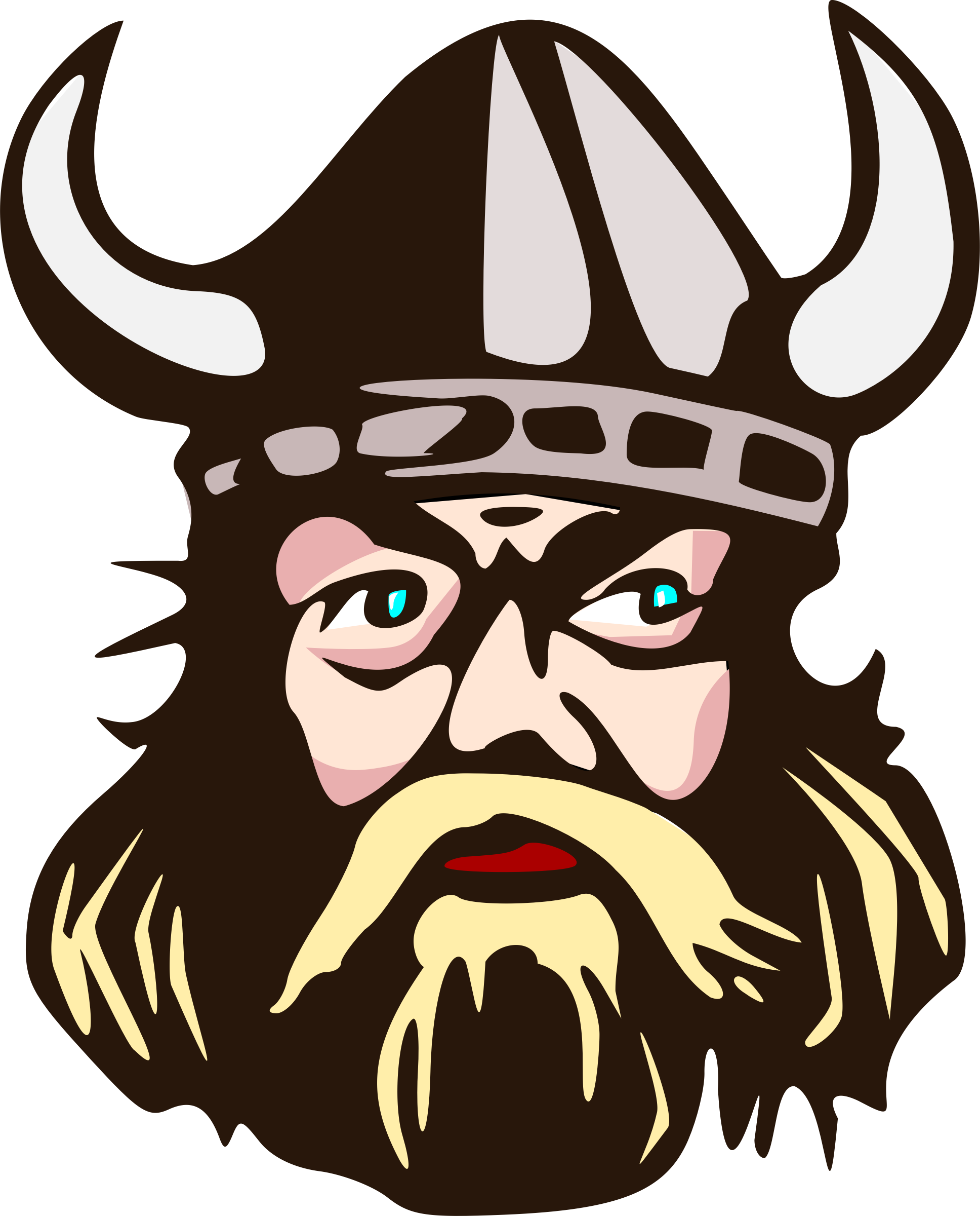 Viking head with icons. Horn clipart svg