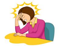 Headache clipart. Woman experiencing panda free