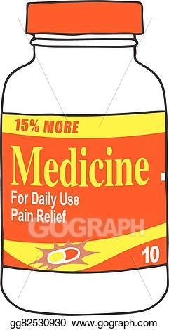 Headache clipart pain reliever. Vector stock medication bottle