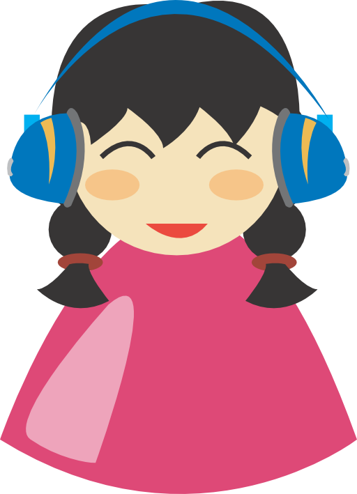 Cute girl with i. Headphone clipart animated