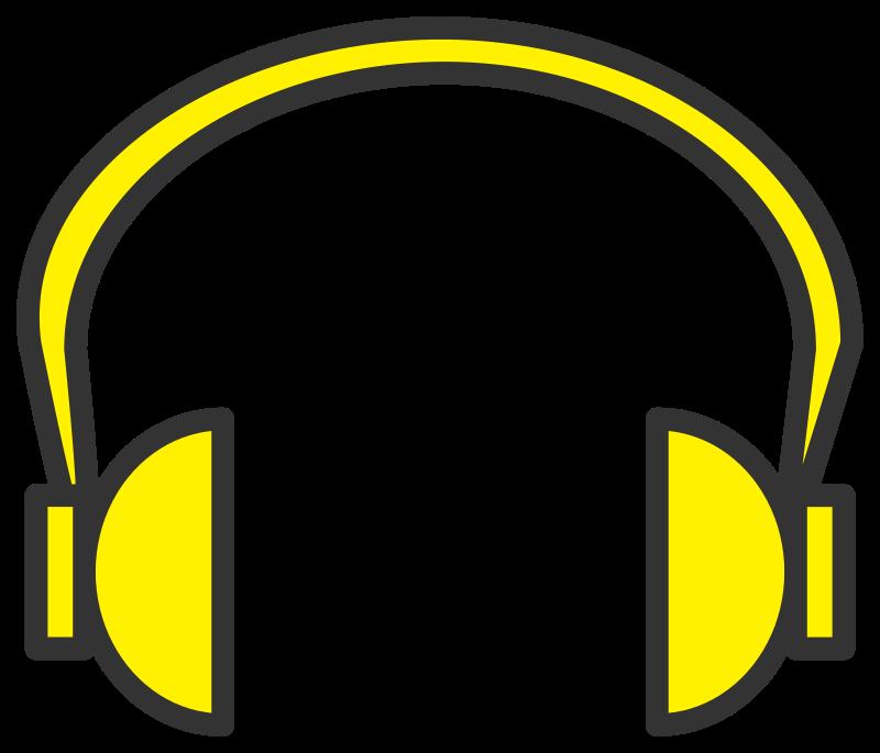 Headphones clipart head phone. Yellow headphone medium image