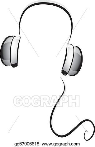Headphone clipart black and white. Vector stock headphones