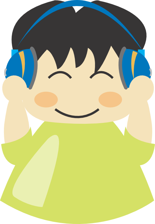 Boy with headphone i. Headphones clipart illustration