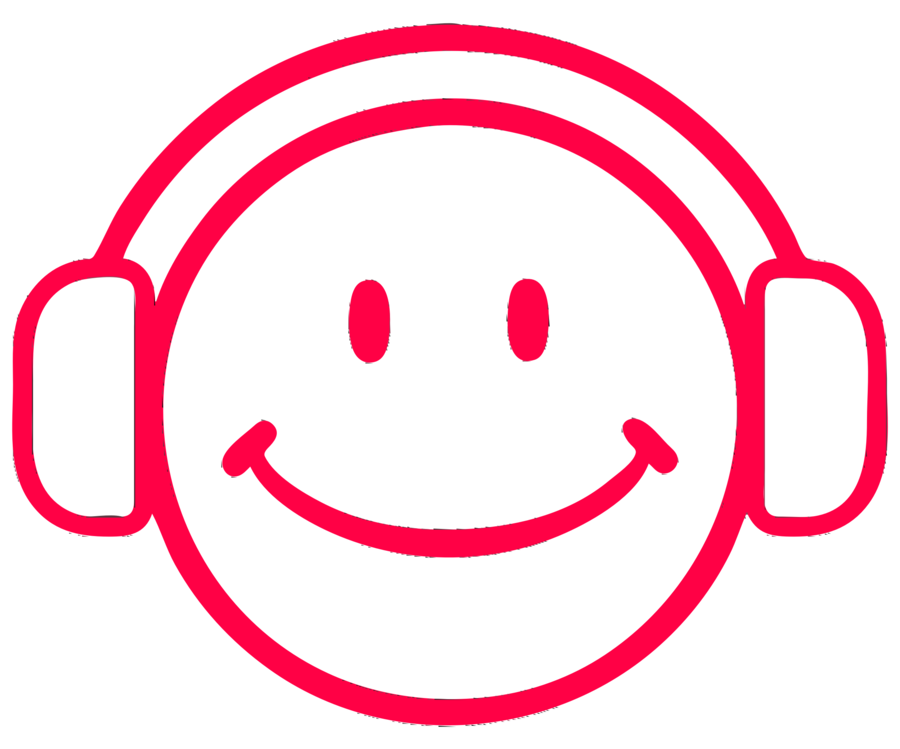 Smiley background sound illustration. Headphones clipart face