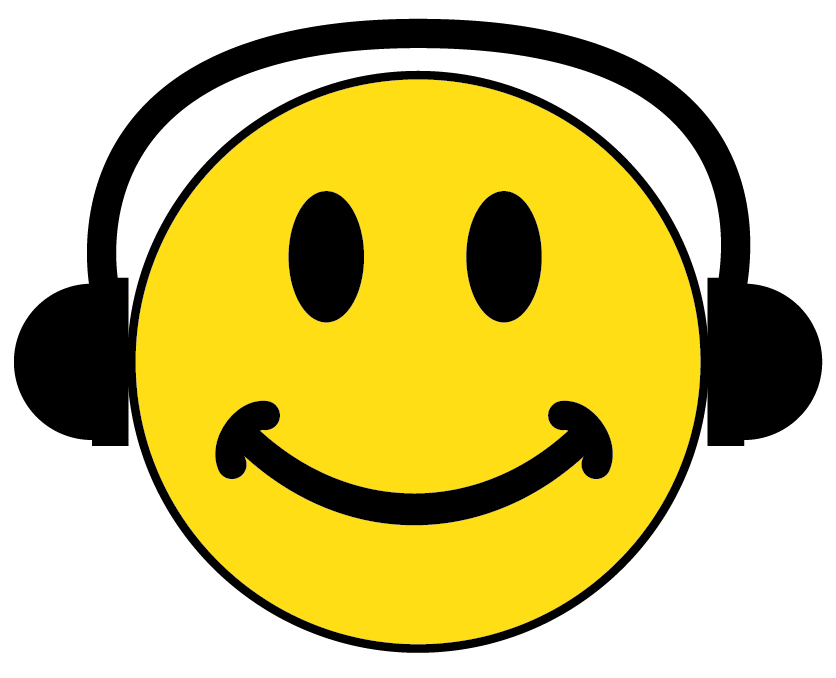 Headphone clipart face. Smiley with headphones images