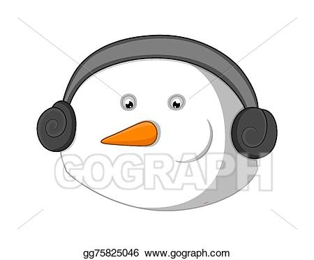 Headphone clipart face. Eps vector snowman with