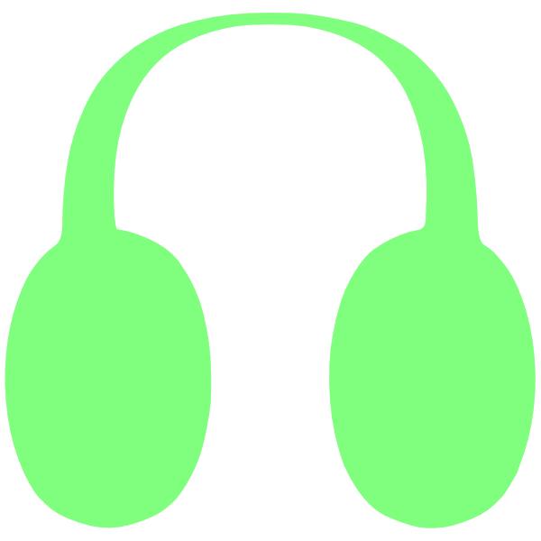 Cartoon drawing yellow . Headphones clipart green