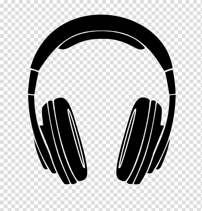 Black illustration silhouette . Headphones clipart transparent background