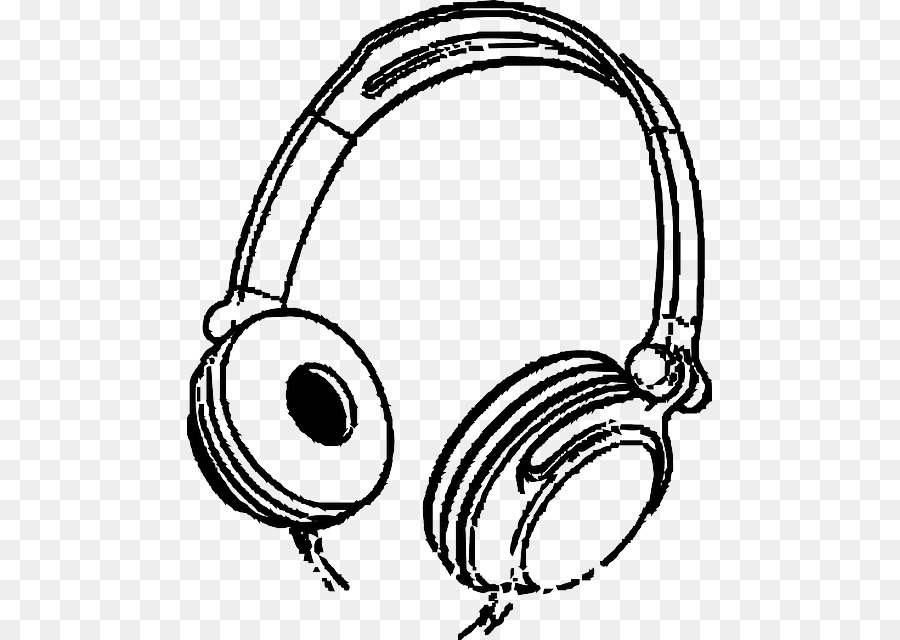 Headphones clipart line art. Cartoon technology circle