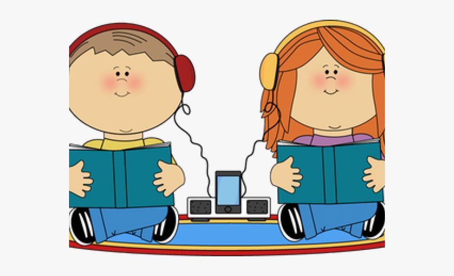 Headphones audio books kids. Headphone clipart listening center
