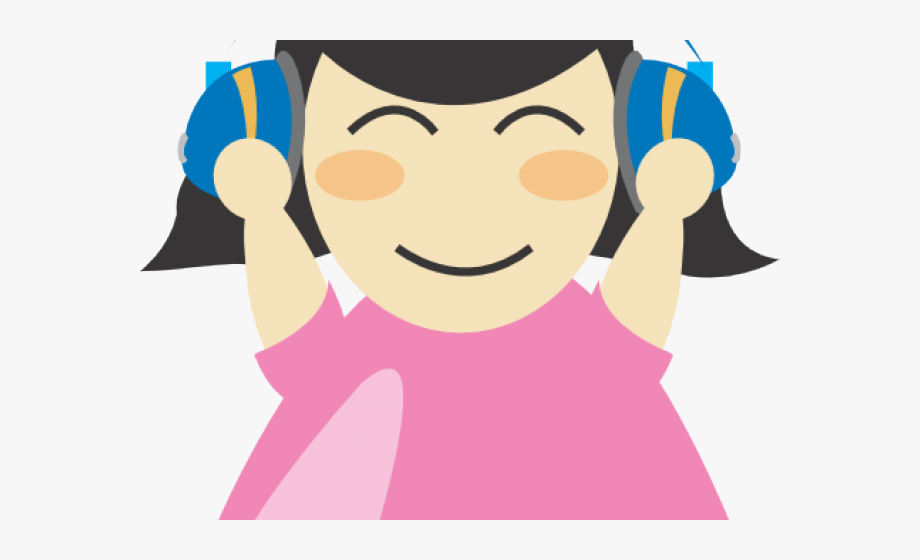 Library center with . Headphones clipart person