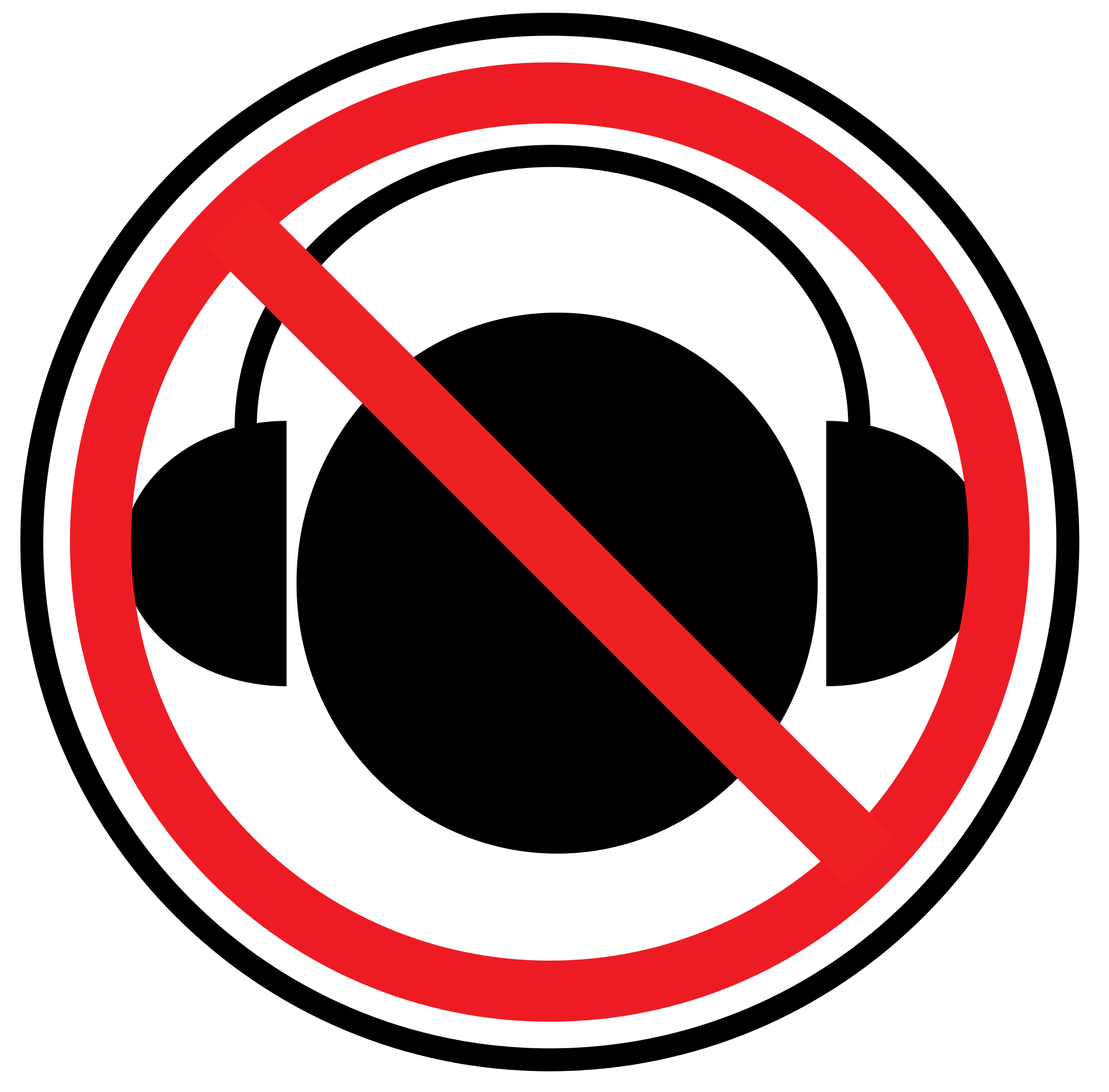 File no while crossing. Headphones clipart sign