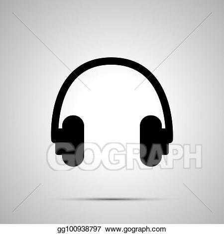 Vector illustration headphones silhouette. Headphone clipart simple