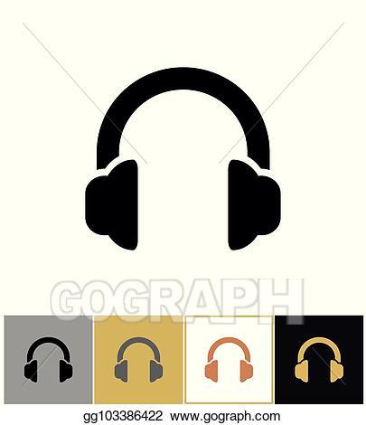 Vector illustration headphones icon. Headphone clipart stereo