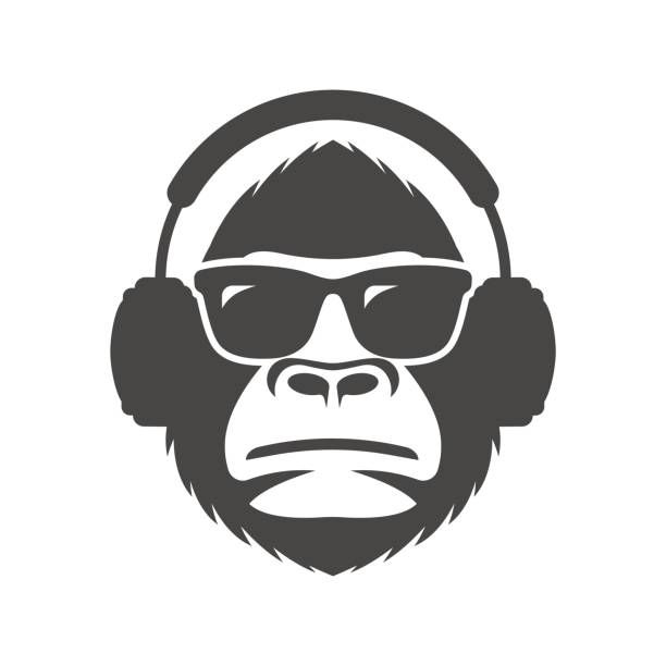 In and headphones mascot. Monkey clipart sunglasses