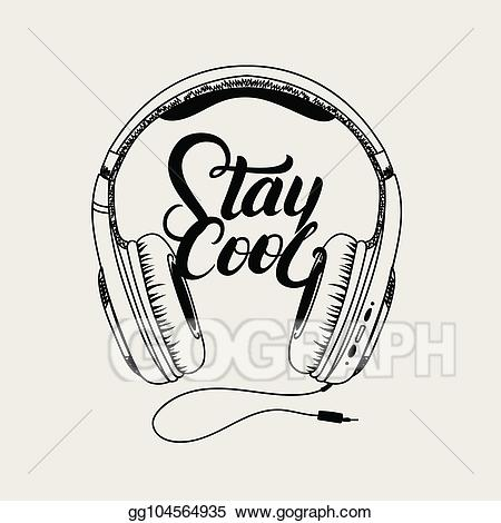 Headphones clipart cool headphone. Vector art tee print